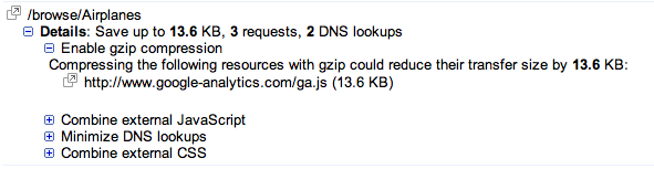 In Google's Webmaster Tools, notice how their excellent new Site Performance feature suggests that we gzip our JavaScript?  Great idea!  Except look where that sole uncompressed JavaScript is coming from - Google themselves!  :)